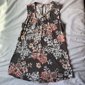 Maurice's Brown Pink Floral Criss Cross Tank Sz XS